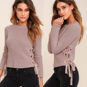 Lulu's Good Natured Beige Lace-Up Knited Sweater M
